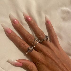 Press on Nails Pink Ombre Ballerina Coffin long
